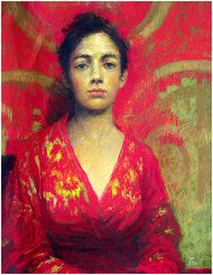 Judy Drew (b.1951) Girl in Red and Gold Silk pastel on paper
