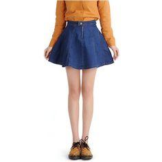 Yoins Yoins  A-line Mini Denim Skirt (125 DKK) ❤ liked on Polyvore featuring skirts, mini skirts, yoins, blue, a line mini skirt, blue skirt, white a line skirt, denim skirt and white skirt
