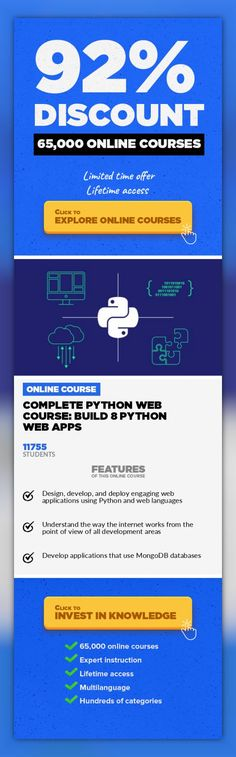 Complete Python Web Course: Build 8 Python Web Apps Web Development, Development  Build Python Web Applications from Beginner to Expert using Python and Flask Update Nov 2017: revamped audio in all videos to make it an even better experience! Update 9 Jul 2017: added explanation videos for all coding exercises in the course. Updated 17 Nov 2016: added live chat for questions, and interactive codin...