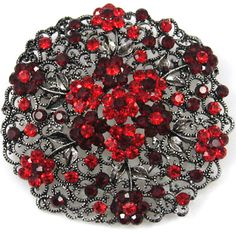 Red and black brooch