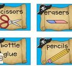 In keeping with my classroom's pirate theme, I have made up a batch of pirate classroom supply labels.  I have included labels for scissors, eraser...