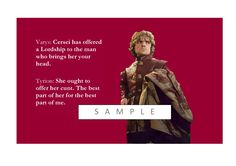 """Game of Thrones POP art print- on framed canvas - Tyrion Lannister  QUOTE-"""" Cersei has offered a lordship for your head ...."""" by gameofthronespopart on Etsy"""