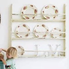 Blue Wooden Plate Rack – Wall Mounted SAVE 25%