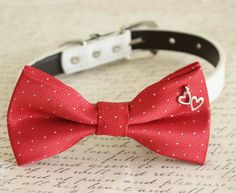 Red Dog Bow tie, Bow attached to dog collar, heart charm, Dog birthday gift, wedding accessory, Valentines gift, Polka dots bow, dog collar