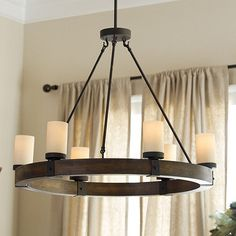 "Arturo 6 light Round Chandelier; 32""diameter. You could do this in foyer, and then rectangle version in dining room, with the large sconces w/ shades in the buffet wall niche."