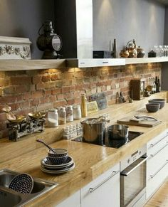 Interior Design: Awesome Brick Backsplash With Open Kitchen Shelving And Wooden Flooring Also Oven Stove For Modern Kitchen Design Ideas Rustic Kitchen, New Kitchen, Kitchen Dining, Kitchen Decor, Kitchen Brick, Kitchen Ideas, Kitchen Inspiration, Country Kitchen, Kitchens With Brick Walls