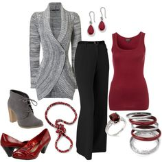 black, silver, & red - Polyvore