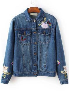 Denim Jacke mit Blumen Stickereien-blau