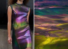 Мир моды часто и во многом опирается на естественный мир и русский художник Лилия Худякова провела параллели. Ее серия фотографий выполнена в паре, она сравнила платья модных дизайнеров и другие предметы, явления природы и места с естественным видом. Лилия представила, что могло их вдохновить на создание своих нарядов.