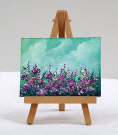 purple flowers, 3x4, original oil painting, special gift by valdasfineart on Etsy