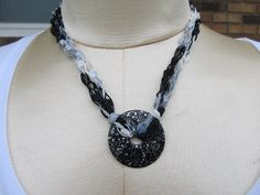 Ribbon Ladder warn necklace with glittery black by rlittleton, $10.00