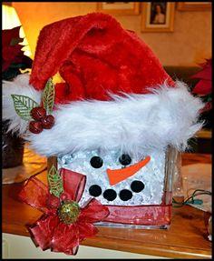 Glass block Santa Snowman