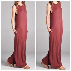 Seamless round neck maxi dress Reddish brown gorgeous loose fire seamless round neck maxi dress with side pockets bust laying flat on side S 20 M 21 L 22 length S 58 M 59 L 60 PLEASE USE Poshmark new option you can purchase and it will give you the option to pick the size you want ( all sizes are available) BUNDLE And SAVE 10% ( sizes updated daily ) Dresses Maxi