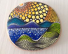 Wood - Dot Art Painted Wood pebbles, Fairy Garden Gift Decoration Painted pebble, mandala on wood Stone Art Painting, Dot Art Painting, Rock Painting Designs, Mandala Painting, Pebble Painting, Mandala Dots, Mandala Design, Painted Rocks, Painted Wood