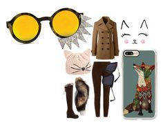 """""""FOX"""" by minxypixy ❤ liked on Polyvore featuring Casetify, Karl Lagerfeld, Ralph Lauren Black Label and Lands' End"""