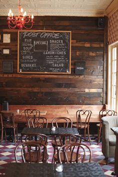 First up, Post Office, a saloon located in South Williamsburg featuring small-batch bourbons and whiskeys. Cafe Interior, Interior Walls, Bathroom Interior Design, Cafe Restaurant, Restaurant Design, Club Monaco, Cozy Cafe, Cafe Bistro, Coffee Cafe