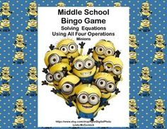 Want a fun way to review?  This Bingo Game with a fun Minions theme is just what you need.Contents:40 Bingo Cards50 Calling Cards -answers included10 Blank Bingo CardsSheet of 25 Blank Calling CardsThis game provides a great review on solving equations.
