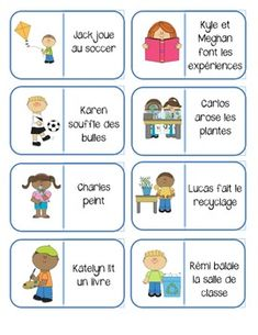 A great way to practice vocabulary, reading comprehension, and oral language skills! This file includes 2 sets of domino cards cards for each game) Print, cut and laminate domino cards. Students can play in pairs or small groups - The first player Core French, French Class, French Teacher, Teaching French, Education And Literacy, Teaching Resources, French Worksheets, French Expressions, Vocabulary Words