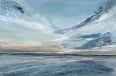 Jane Skingley, Clouds at Sunset, oil on board, 20x32cm, £300 Small Paintings, Landscapes, Waves, Clouds, Oil, Sunset, Board, Outdoor, Paisajes