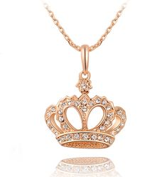 Gift Classic Crown Pendant Necklace Rose Gold/platinum Plated Made Fashion Women Jewelry Crystal Cute Jewelry, Gold Jewelry, Jewelry Accessories, Jewelry Necklaces, Women Jewelry, Long Necklaces, Cheap Jewelry, Diamond Jewelry, Beaded Jewelry