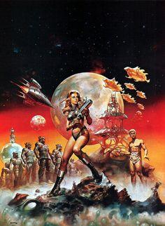 Barbarella artwork by Boris Vallejo Boris Vallejo, Sci Fi Kunst, Comic Kunst, Arte Sci Fi, Sci Fi Art, Science Fiction Kunst, Julie Bell, Arte Tribal, Arte Cyberpunk