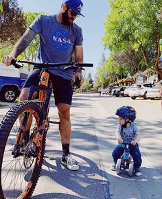 Like father. Like son. teaching his mini me the ropes. Mini Me, Father And Son, Ropes, Helmets, Dads, Bicycle, Teaching, Instagram, Style