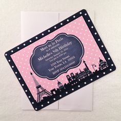 """8 - """"Meet me in Paris"""" Birthday printed Party Invitations with 28lb bond paper Envelope Paris Birthday invitation Eiffel Tower Skyline - pinned by pin4etsy.com"""