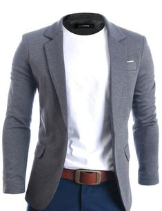 Mens Casual Premium Blazer Jacket Product Details Classy Tailored look with Jeans or Chinos One button Casual Blazers for men Unique fabric by urban fashion brand FLATSEVEN Rayon, Polyester Dry Clean only Size unit is different and may runs Stylish Mens Fashion, Mens Fashion Suits, Men's Casual Fashion, Mens Suits, Best Business Casual Outfits, Trendy Outfits, Mens Casual Dress Outfits, Men's Outfits, Fashionable Outfits
