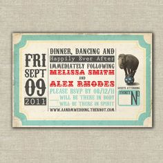 layout // Vintage carnival theme wedding invitation sample by Peppertowne, $3.50