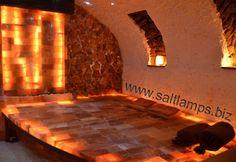 Himalayan Salt Room, Himalayan Salt Crystals, Spa Interior Design, Spa Design, Bricks For Sale, Salt Cave, Crystal Room, Salt Rock Lamp, Massage
