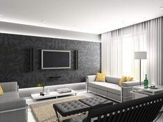 living room Gorgeous Modern Living Room Design With Black Wallpaper Behind Tv Wall Mount As Well Sectional Sofa Also Beige Fur Rug Also White Curtain Window: