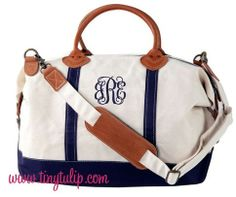 Our Monogrammed Navy Classic Satchel Duffel Bag is the ultimate in classic preppy style.  It will be a forever bag that will never go out of style! This duffle bag is made of 20-ounce Cotton Canvas. With two quick snaps you can change your satchel into a duffel. One large zippered pouch and two s...