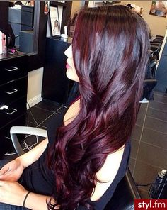 Long Dark Burgundy Hair