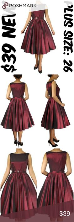 """Plus Pin Up Clothing Dress Vintage 1950s Burgundy Pin Up Dress ▶NEW WITHOUT TAGS ▶SIDE ZIPPER ▶MATERIAL: 97% POLYESTER AND 3% SPANDEX ▶BUST: 54"""" ▶WAIST: 46"""" ▶LENGTH: 43"""" ▶TAG SIZE IS 26 ▶#C16 Dresses"""
