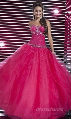 Tulle Sequin Ruched A Line Ball Gown Long Strapless Fuchsia Prom Dress Quince Dresses, Pink Prom Dresses, Sweet 16 Dresses, Prom Dresses Online, Pretty Dresses, Homecoming Dresses, Beautiful Dresses, Evening Dresses, Casual Dresses