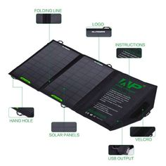 ALLPOWERS 8W Foldable Solar Charger Panel with iSolar for iPhone, Samsung, Blackberry and All Other Solar Battery Charger, Blackberry, Samsung, Iphone, Blackberries, Rich Brunette