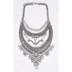 Spring Baroque Statement Necklace ($19) ❤ liked on Polyvore featuring jewelry, necklaces, silver, imitation jewelry, multi layer chain necklace, baroque jewelry, rhinestone statement necklace and bib statement necklace