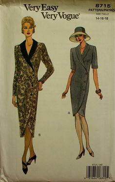 1990s Dress Button Front Vogue Pattern 8715 by patterntreasury, $16.95
