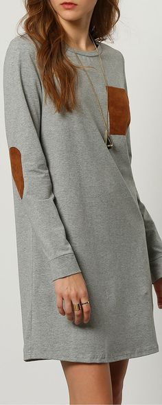 Grey Long Sleeve Casual Dress‖SHEIN Women. Love the material! Soft and stretchy. The patch detail is just too cute!