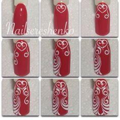 1 Toe Nail Art, Toe Nails, Nail Tutorials, Swirls, Tattoos For Women, Tatting, Nail Designs, Projects To Try, Valentines