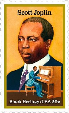 Scott Joplin, composer & pianist, is known as the 'king of ragtime.' In 1899, he composed 'Maple Leaf Rag' - the genre's biggest hit. He included ragtime songs in his 'Treemonisha', the first opera composed by an African-American. In 1976, almost 60 years after his death, Joplin was awarded a special posthumous Pulitzer Prize for his contributions to music. This stamp was issued on June 9, 1983.
