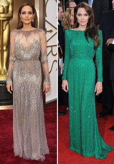 [Angelina Jolie: Left – Elie Saab at the Oscars 2014, right – Atelier Versace at the 2011 Golden Globes]