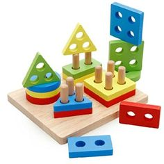 D-Mcark Educational Toy Geometric Sorting Board Wood Toy Activity Table Blocks Set for Girls Boys 1-3 Year Old