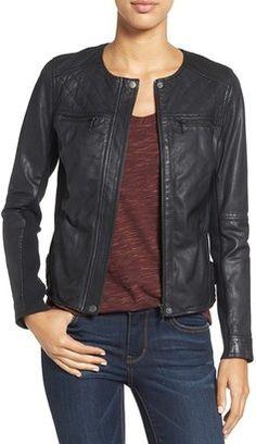Shop Now - >  https://api.shopstyle.com/action/apiVisitRetailer?id=532543704&pid=uid6996-25233114-59 Women's Caslon Collarless Leather Jacket  ...