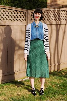 midi skirt, striped cardi, chambray shirt, cut out sandals, statement necklace