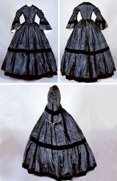 Mourning dress, ca. 1863. Hand-stitched black silk & beige cotton (lining), velvet ribbon & wool tape. For second mourning w/bell sleeves that have 3 bands of pleated ruching at top & wide band of black velvet ribbon around bell. Inside sleeve lined w/white silk; opening edge is trimmed on inside w/box-pleated white silk ribbon. Piped neckline, armscye seams, & waistline edge. Skirt fullness controlled by layered box pleats at waistline. Connecticut Historical Society
