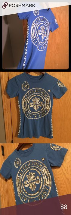 30% off Bundles! Affliction Size Small Blue w/white, gray design tee shirt Affliction Tops Tees - Short Sleeve