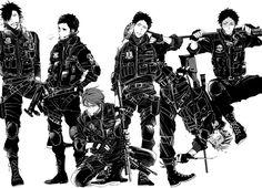 Hakyuu capitains, MIlitary squad version (Haikyuu Fanbook)