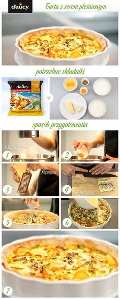 Tarta z warzywami, serem pleśniowym z dodatkiem parmezanu.  http://www.daucyinspiruje.pl/przepis/tarta-z-serem-plesniowym/