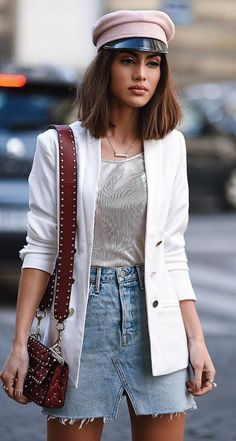 how to style a denim skirt : white blazer + hat + top